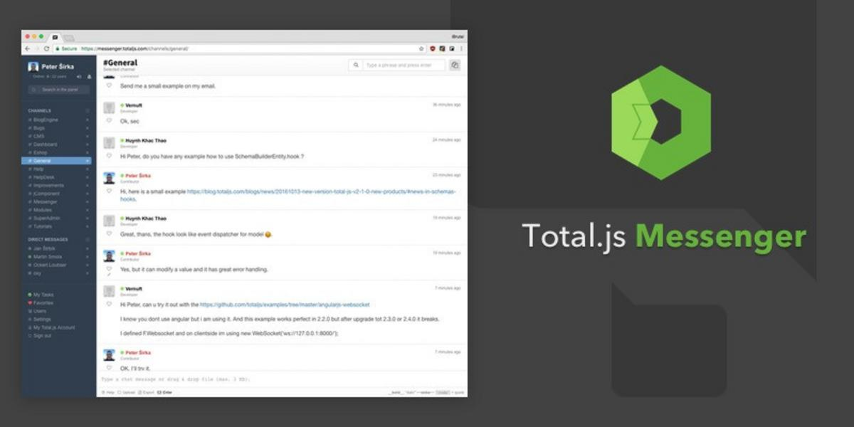 Total.js Messenger: Chat app inspired by Slack