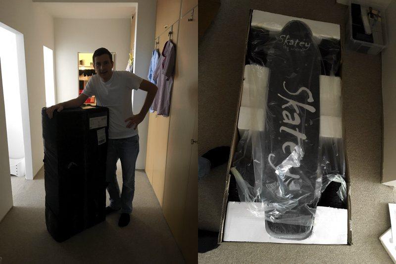 Krabica s elektrickým skateboardom Skatey 800 Double